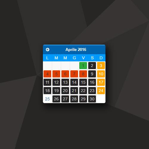 Calendario appuntamenti con disponibilità
