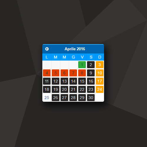 Calendario appuntamenti con disponibilità